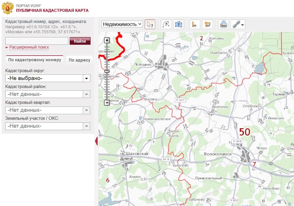 Публичная кадастровая карта Московской области (расширенный поиск)