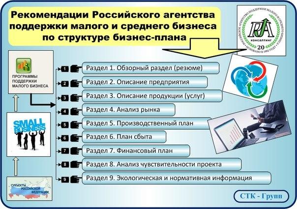 Структура бизнес-плана российского агентства поддержки малого и среднего бизнеса