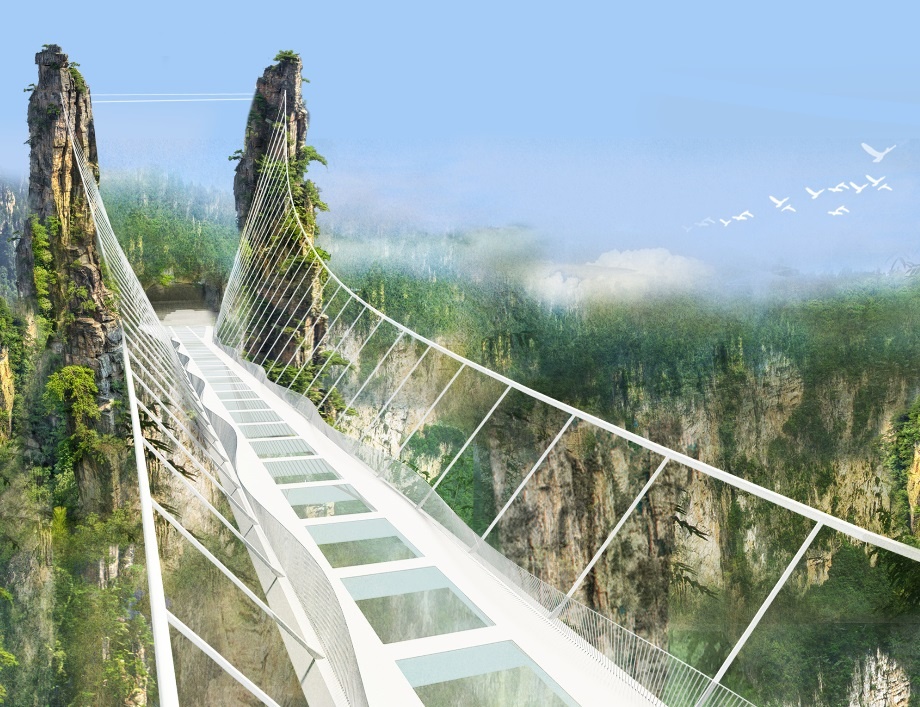 China Set to Open World's Longest and Highest Glass-Bottom Bridge_3