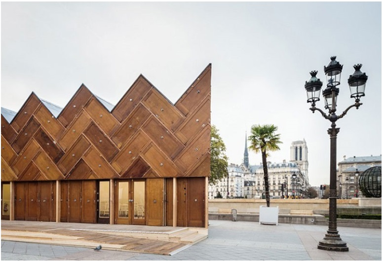 This pavilion in Paris was built using recycled wooden doors_2
