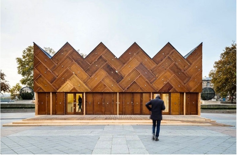 This pavilion in Paris was built using recycled wooden doors_3