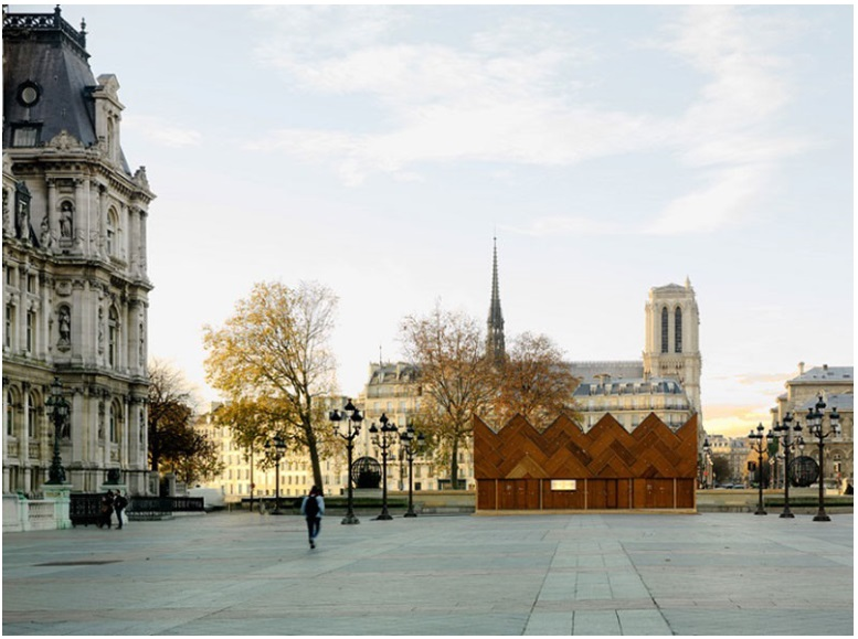 This pavilion in Paris was built using recycled wooden doors_7