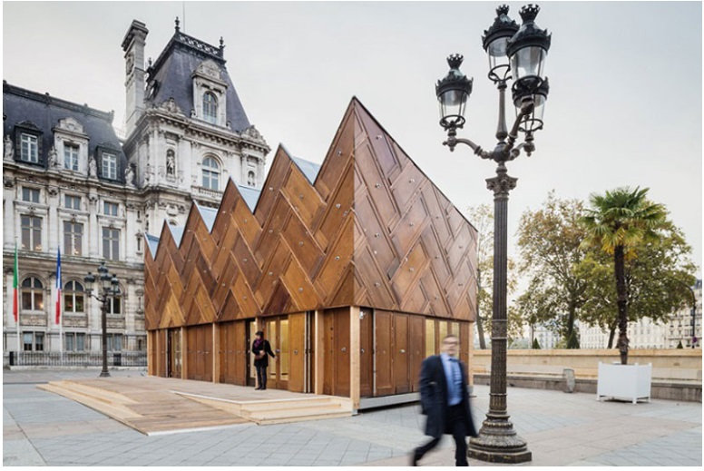 This pavilion in Paris was built using recycled wooden doors_8