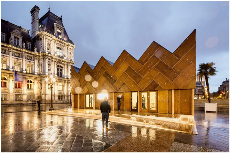 This pavilion in Paris was built using recycled wooden doors