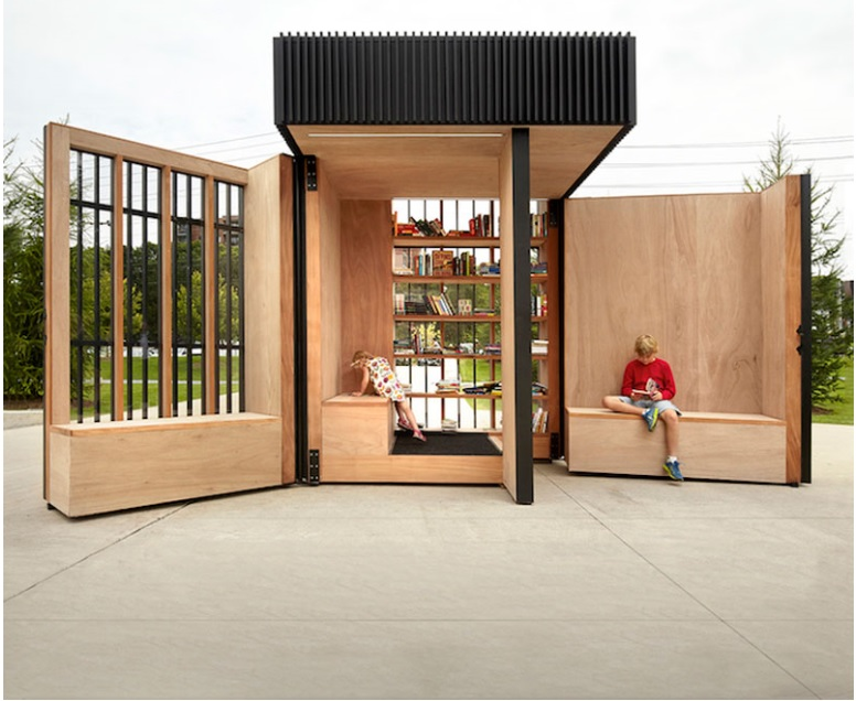 This small cabin can unfold into an open-air library