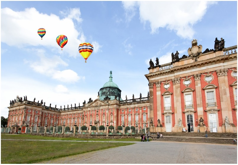 The last great Prussian baroque palace, the New Palace, in Sanssouci park in Potsdam, Germany