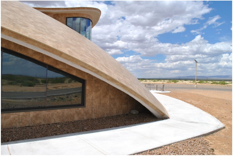 The saucer-like shape of Spaceport America