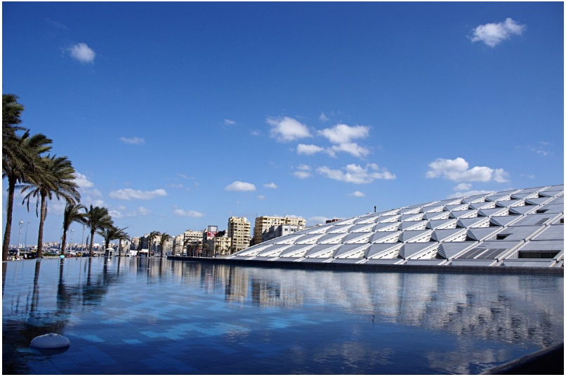 The stylish Bibliotheca Alexandrina in Egypt