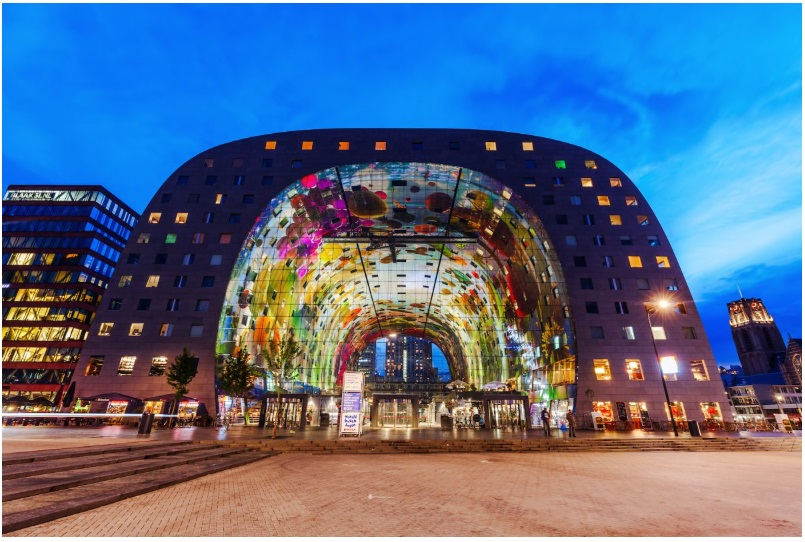 The trippy Markthal in Rotterdam's Blaak market square