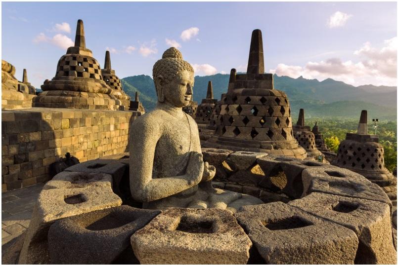 Borobudur temple in the island of Java, Indonesia