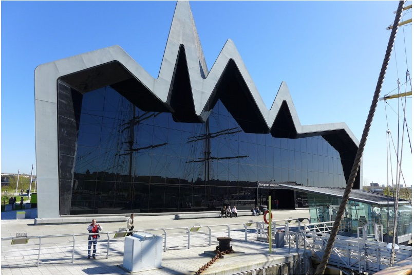 The 118-foot-tall zinc roof on the glass-fronted Riverside Museum
