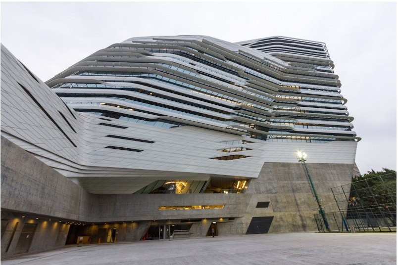 The curved, multiple levels of Zaha Hadid's Innovation Tower