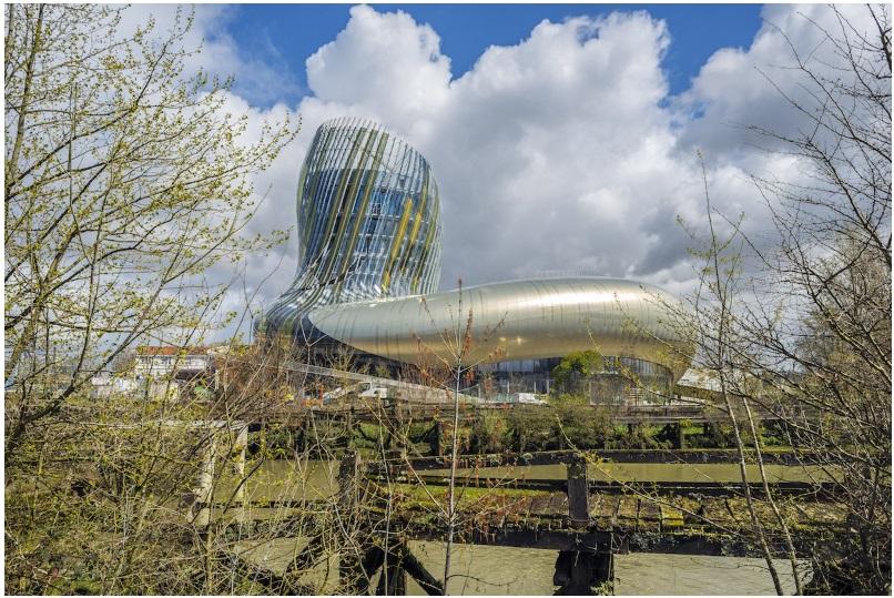 The curved structure of wine museum La Cité du Vin in Bordeaux, France