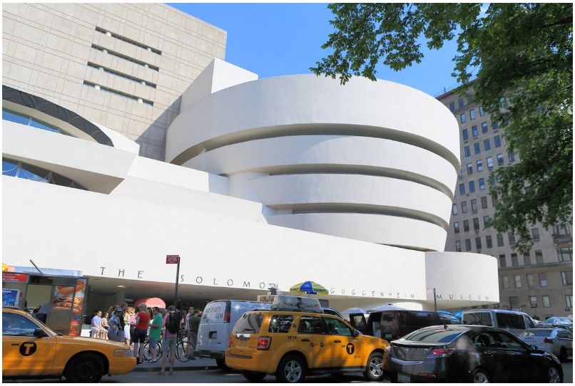 The cylindrical shape of the iconic Solomon R. Guggenheim Museum