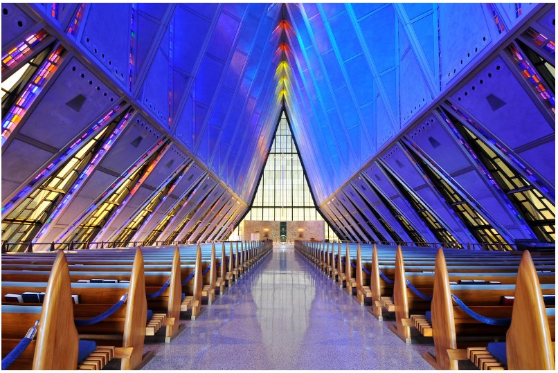 The triangular shape of the United States Air Force Academy Cadet Chapel