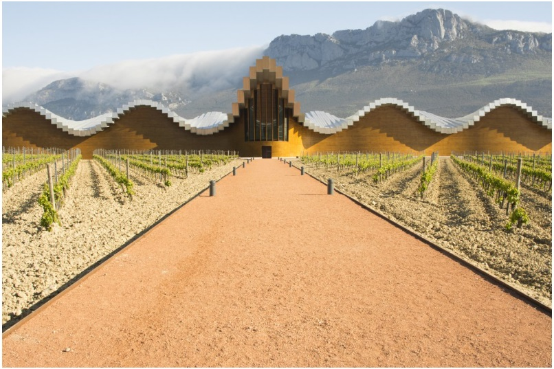 The undulating concrete roof of Bodegas Ysios, a winery in Spain's Rioja Alavesa