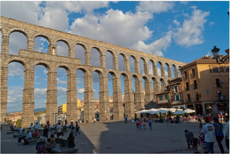 The Aqueduct of Segovia in central Spain