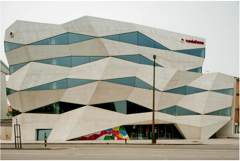 The bizarre-looking Vodafone Headquarters in Portugal shrugs off the conventional straight lines you might expect from a corporate entity