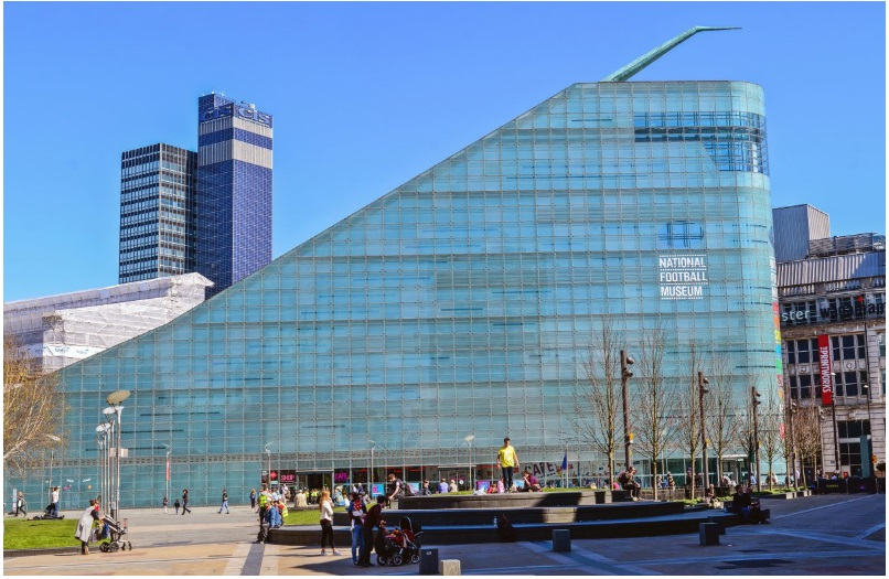 The slide-like Urbis building in Manchester, UK, contains a National Football Museum