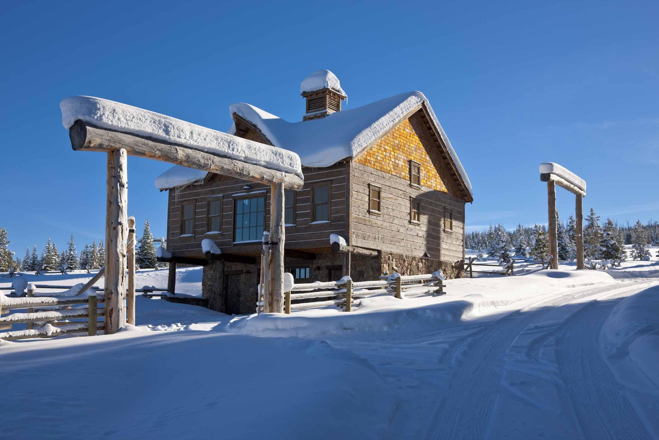 Зимний пейзаж ранчо Elk Horn