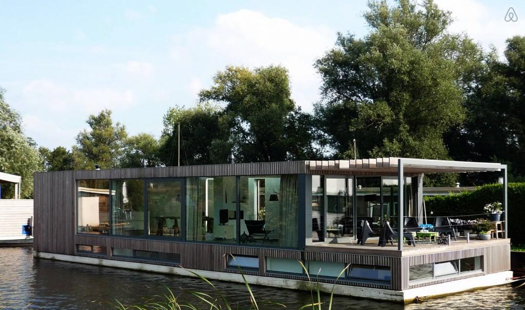 Modern houseboat near Amsterdam