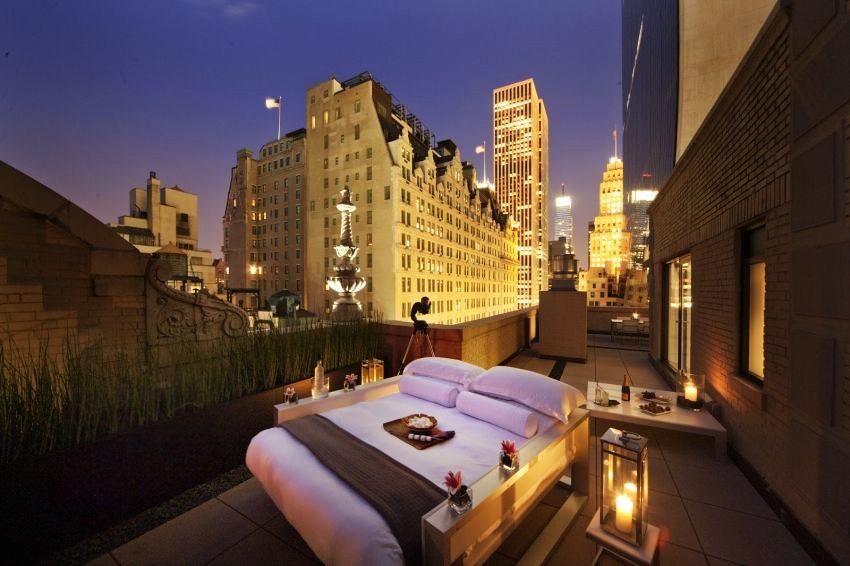 Удивительный вид на ночной Нью-Йорк